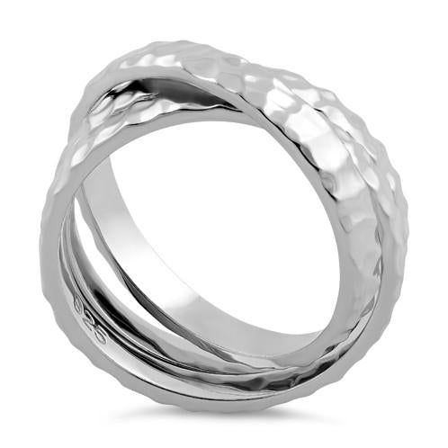 Sterling Silver Hammered Tri-Band Ring
