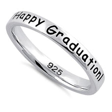 "Load image into Gallery viewer, Sterling Silver ""Happy Graduation! We're so proud of you!"" Ring"