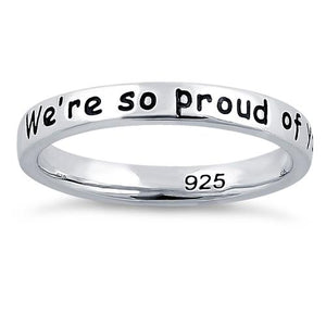 "Sterling Silver ""Happy Graduation! We're so proud of you!"" Ring"
