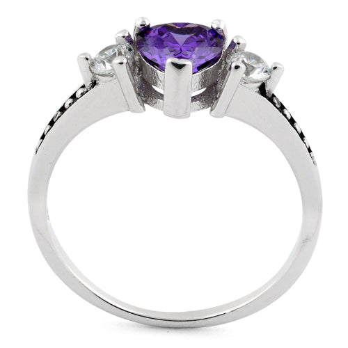 Sterling Silver Heart Amethyst CZ Ring
