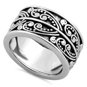 Sterling Silver Heart Bali Ring