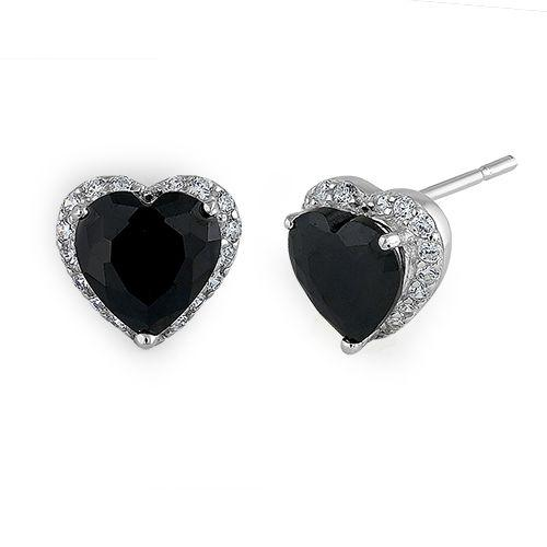Sterling Silver Heart Black CZ Earrings