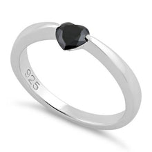 Load image into Gallery viewer, Sterling Silver Heart Black CZ Ring