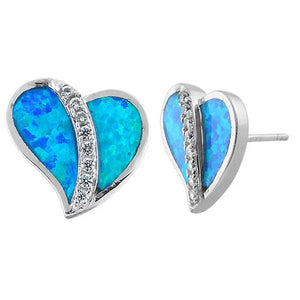 Sterling Silver Heart Blue Lab Opal Clear CZ Earrings