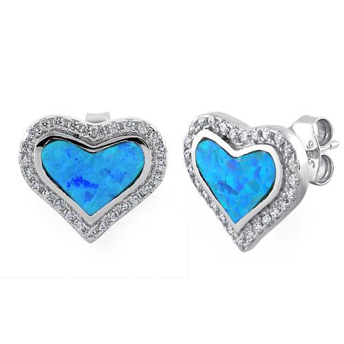 Sterling Silver Heart Blue Lab Opal CZ Stud Earrings