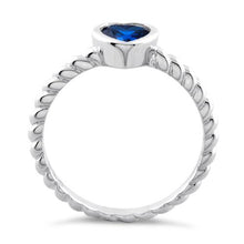 Load image into Gallery viewer, Sterling Silver Heart Blue Spinel CZ Ring
