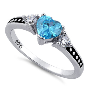 Sterling Silver Heart Blue Topaz CZ Ring