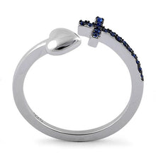Load image into Gallery viewer, Sterling Silver Heart Cross Blue Sapphire CZ Ring