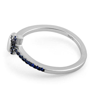 Sterling Silver Heart Cross Blue Sapphire CZ Ring