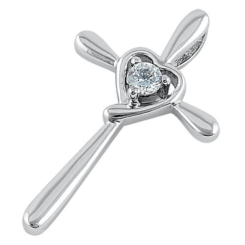 Sterling Silver Heart Cross CZ Pendant