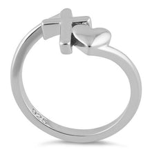 Load image into Gallery viewer, Sterling Silver Heart Cross Ring