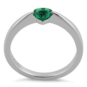 Sterling Silver Heart Emerald CZ Ring