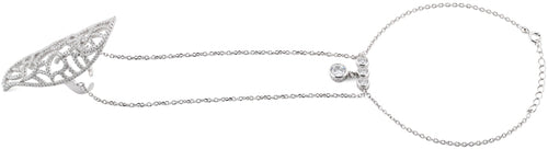 Sterling Silver Heart Extravagant CZ Chain Ring Bracelet