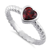 Load image into Gallery viewer, Sterling Silver Heart Garnet CZ Ring