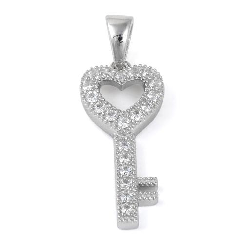 Sterling Silver Heart Key CZ Pendant