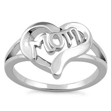 Load image into Gallery viewer, Sterling Silver Heart Mom Ring