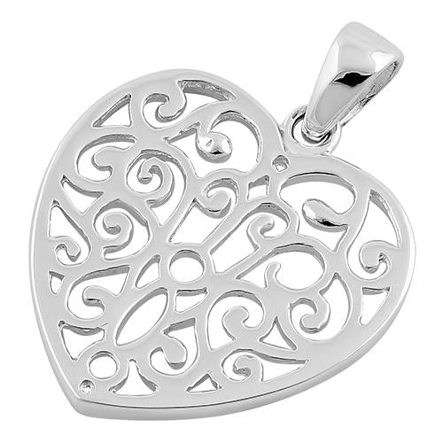 Sterling Silver Heart Pattern Pendant