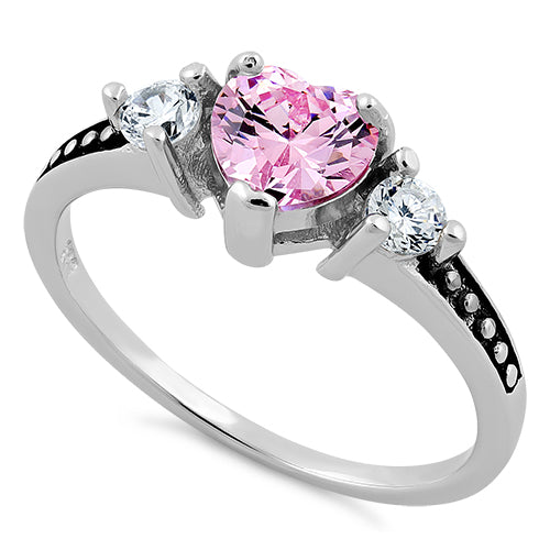 Sterling Silver Heart Pink CZ Ring