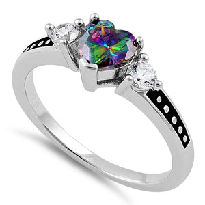 Sterling Silver Heart Rainbow Topaz CZ Ring