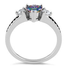 Load image into Gallery viewer, Sterling Silver Heart Rainbow Topaz CZ Ring