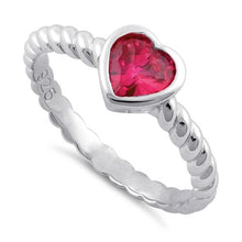 Load image into Gallery viewer, Sterling Silver Heart Ruby CZ Ring