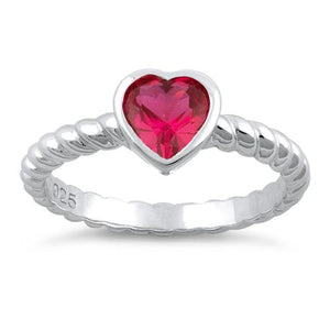 Sterling Silver Heart Ruby CZ Ring