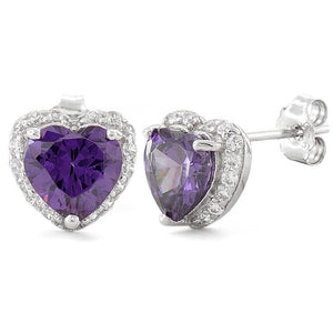 Sterling Silver Heart Shape Amethyst CZ Earrings
