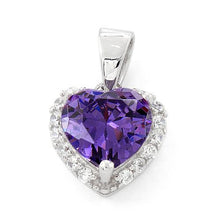 Load image into Gallery viewer, Sterling Silver Heart Shape Amethyst CZ Pendant