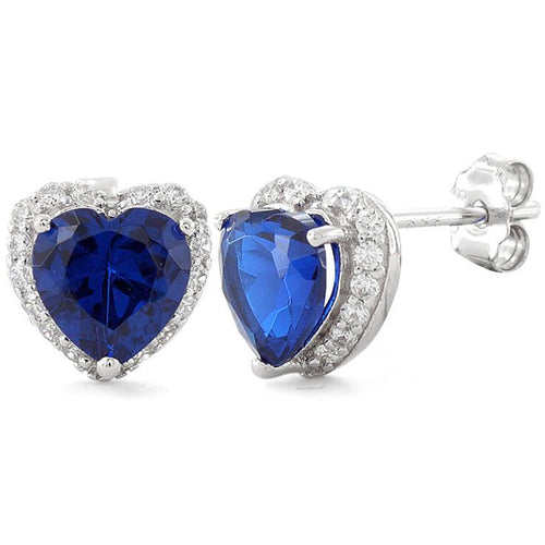 Sterling Silver Heart Shape Blue Sapphire CZ Earrings