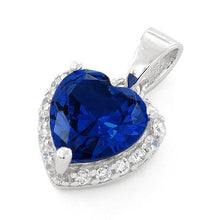 Load image into Gallery viewer, Sterling Silver Heart Shape Blue Sapphire CZ Pendant