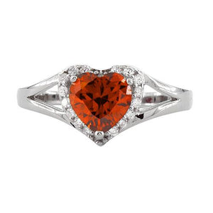 Sterling Silver Heart Shape Fire Orange CZ Ring
