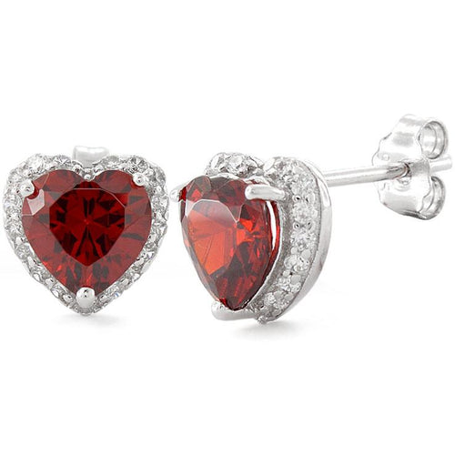 Sterling Silver Heart Shape Garnet CZ Earrings