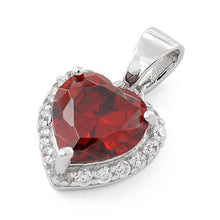 Load image into Gallery viewer, Sterling Silver Heart Shape Garnet CZ Pendant