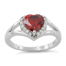 Load image into Gallery viewer, Sterling Silver Heart Shape Garnet CZ Ring