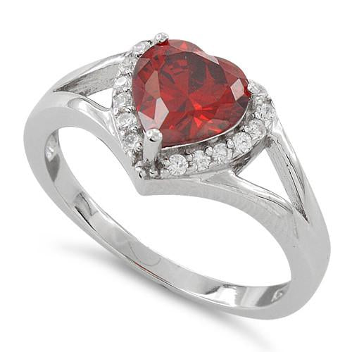 Sterling Silver Heart Shape Garnet CZ Ring