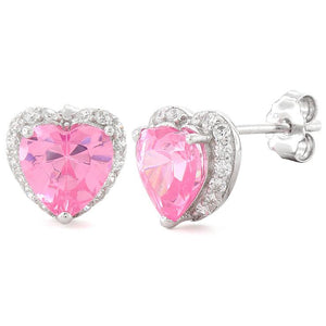 Sterling Silver Heart Shape Pink CZ Earrings
