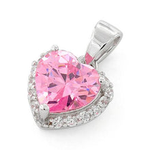 Load image into Gallery viewer, Sterling Silver Heart Shape Pink CZ Pendant