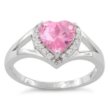 Load image into Gallery viewer, Sterling Silver Heart Shape Pink CZ Ring