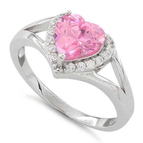 Sterling Silver Heart Shape Pink CZ Ring