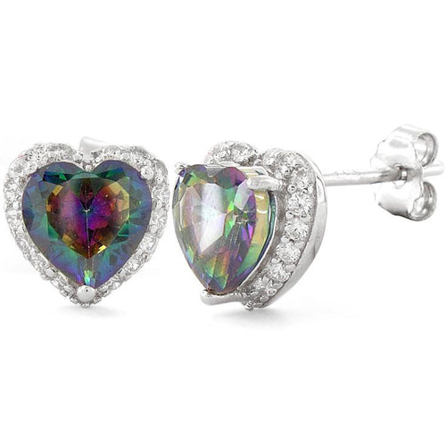 Sterling Silver Heart Shape Rainbow Topaz CZ Earrings