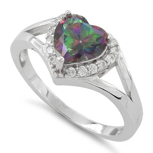 Sterling Silver Heart Shape Rainbow Topaz CZ Ring