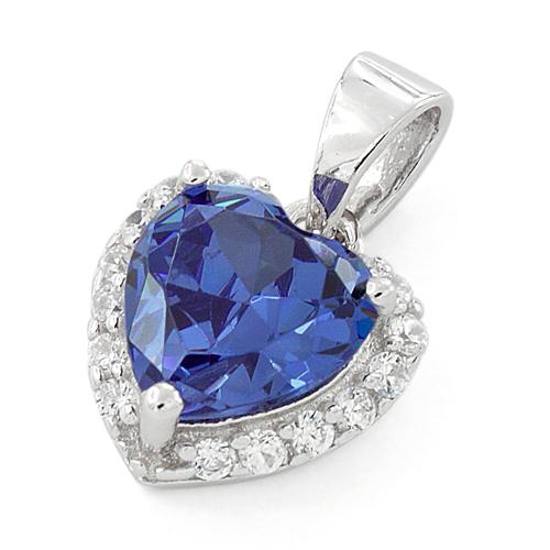 Sterling Silver Heart Shape Tanzanite CZ Pendant