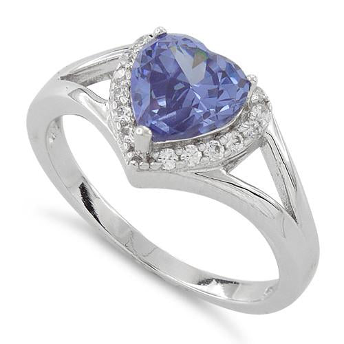 Sterling Silver Heart Shape Tanzanite CZ Ring