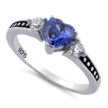 Load image into Gallery viewer, Sterling Silver Heart Tanzanite CZ Ring