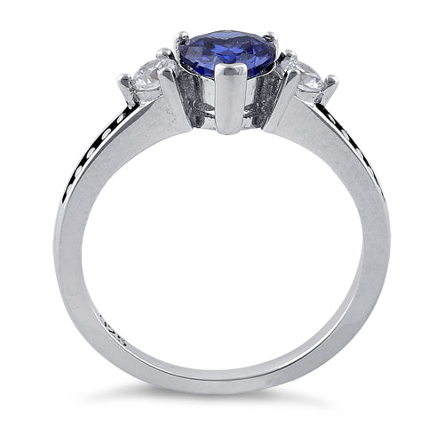 Sterling Silver Heart Tanzanite CZ Ring