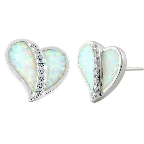 Sterling Silver Heart White Lab Opal Clear CZ Earrings