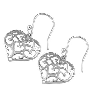 Sterling Silver Hearts Hook Earrings