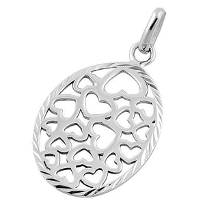 Sterling Silver Hearts Oval Pendant
