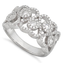 Load image into Gallery viewer, Sterling Silver Hearts Pave CZ Ring