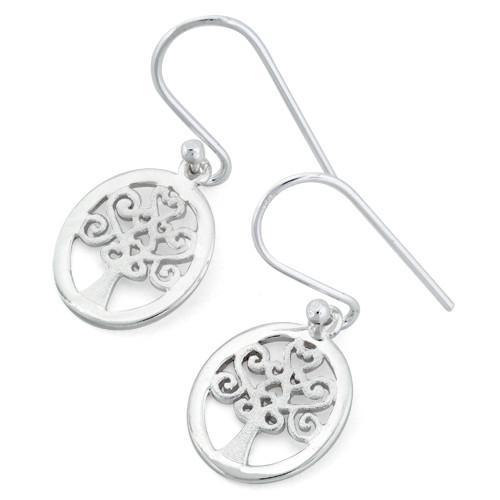 Sterling Silver Hearts Tree Hook Earrings